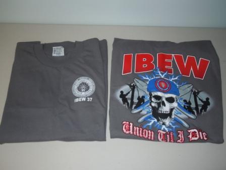 8271290fe Beige Dress Shirt. Grey IBEW Logo T-Shirt. Strong ...